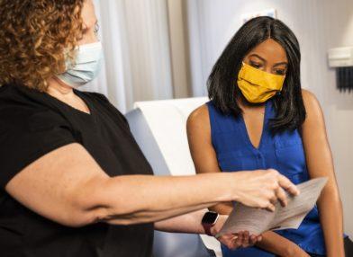 women, face masks, document